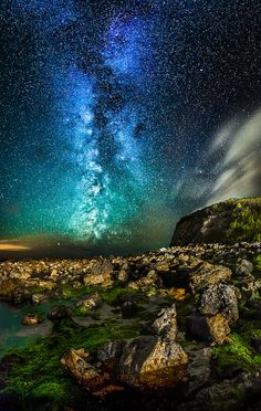 Milky way over Orchard Bay, Isle of Wight, England