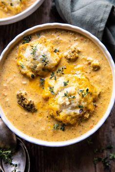 Fall Recipes, Soup Recipes, Vegetarian Recipes, Dinner Recipes, Cooking Recipes, Ricotta Stuffed Chicken, Cozy Meals, Broccoli Cheddar, Frozen Broccoli