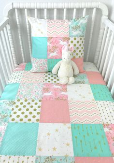 Baby Girl Blanket, Crib Bedding, Baby Blanket, Blush, Pink, Coral, Mint, Seafoam, Gold, White, Unicorns, Unicorn Nursery Decor, Arrows