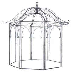 Create A Charming Focal Point In Your Yard With This Metal Garden Gazebo Showcasing Scroll