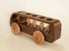 Wooden Bus Wooden toy Car Walnut wood-Eco by BERTYandMASHA