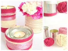 Heart Handmade UK: DIY Yarn Wrapped Tins for Votives and Vases Sweet and Easy! Unique Candle Holders, Unique Candles, Diy Candles, Book Crafts, Diy And Crafts, Candle Making, Decorating Tips, Tea Lights, Diys