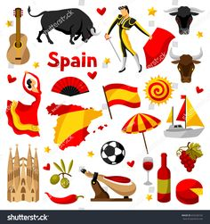 Find Spain Icons Set Spanish Traditional Symbols stock images in HD and millions of other royalty-free stock photos, illustrations and vectors in the Shutterstock collection. Thousands of new, high-quality pictures added every day. Spanish Flags, Spanish Art, Facts About Spain, Spain Flag, Western Crafts, Shrink Art, Usa Tumblr, City Illustration, Thinking Day