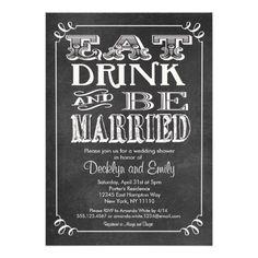 Eat Drink Be Married Chalkboard Invitation Wedding