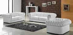 3 Piece White Bonded Leather Sofa Set