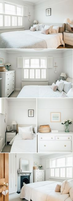 a light and airy master bedroom | White bedroom inspiration | White and blush bedroom | Bedroom window shutters | modern country master bedroom | country inspired bedroom decor | Loaf bed | White company bed linen | bumble bee bedroom accessories | Bedside table inspiration | Character fireplace inspiration