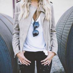 Light grey moto jaceket, white tee, black jeans, and black sunglasses. So stylish!