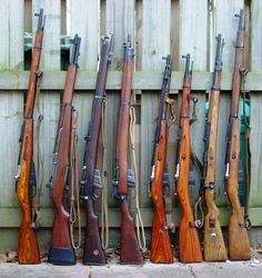 L to R... 1.) M91/30 7.62x54mmR  2.) M1 Garand 7.62x63mm  3.) MK1#3* 7.7x56mmR  4.) Rifle#4 Mk2 7.7x56mmR  5.) M44 7.62x54mmR  6.) M38 7.62x54mmR  7.) K98k 7.92x57mm  8.) M91/30 7.62x54mmR