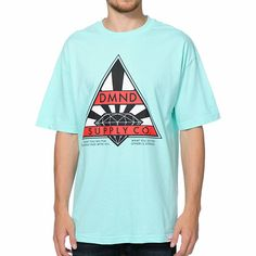 """Ride in never ending comfort with the new Diamond Supply Eternal diamond blue tee shirt. Grab some fresh style with an all cotton design in a diamond blue colorway, large """"DMND Supply Co."""" text screen print graphic at the chest in red and black, Diamond rising sun logo screen print graphic at the chest in black and white, """"What You Do For Yourself Dies With You. What You Do For Others Is Eternal"""" text graphic at the lower chest, Diamond Supply brand tag on the bottom hem, and a tagless…"""