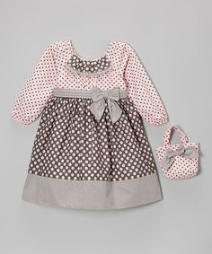 Love this Pink & Gray Polka Dot Bow Dress & Purse - Infant, Toddler & Girls on #zulily! #zulilyfinds
