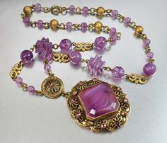 Purple Slag Glass Czech Art Deco Necklace  VIntage Jewelry