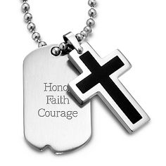 Black Cross Dog Tag Pendant- Vertical at Things Remembered