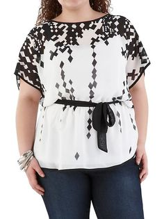 Plus Sheer Geometric Print Tunic with Belt: Dots.com $18.00