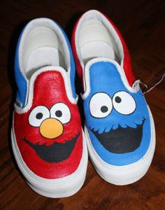 Elmo & Cookie Monster Hand painted custom Vans Slip-on Shoes Source by Shoes Vans Slip On Shoes, Custom Vans Shoes, Custom Painted Shoes, Painted Canvas Shoes, Painted Sneakers, Hand Painted Shoes, Kid Shoes, Custom Converse, Golf Shoes
