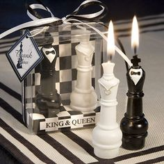 King & Queen chess Piece Candle Favors - Declare a check mate on love with this regal pair of king and queen chess piece candles as your favors