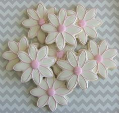 One Dozen (12) Delightful Daisy Flower Decorated Sugar Cookies on Etsy, $36.00