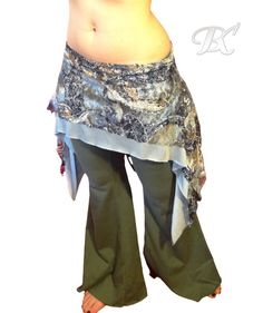 Belly Dance Hip Skirt  Blue/Brown Lace / belly by BellyKreations, $30.00
