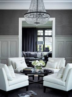 If you are looking for 53 Excellent Formal Living Room Decor Ideas, You come to the right place. Here are the 53 Excellent Formal Living Room Decor Ideas. Living Room White, White Rooms, Formal Living Rooms, Home Living Room, Living Room Designs, Living Room Decor, Living Spaces, Dining Room, Formal Living Room Wallpaper