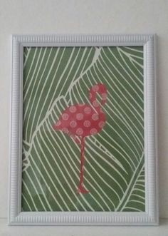 Cadre flamant rose papier peint et tissu : Décorations murales par lileocraies