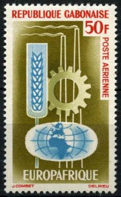 Stamp: Globe and emblems of industry and agriculture (Gabon) (Europafrica Issue) Mi:GA Agriculture, Globe, Stamps, Airmail, Seals, Speech Balloon, Stamp, Stamping, Postage Stamps