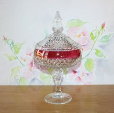 Beautiful, Vintage Diamond Point, Ruby Flashed, Lidded Glass Compote by cocoandcoffeevintage