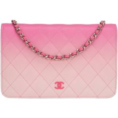 Pre-owned Chanel Bi-Color Pink Quilted Lambskin Wallet On Chain (WOC) ($3,200) ❤ liked on Polyvore featuring bags, handbags, handbags and purses, quilted handbags, chanel handbags, courier bag, crossbody messenger bag and pink crossbody purse