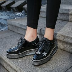 Chiko Artura Star Flatform Oxfords feature square toe, star decorated upper, braid detailed flatform rubber sole.