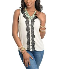 This Black & Cream Lace Accent Tank Top is perfect! #zulilyfinds