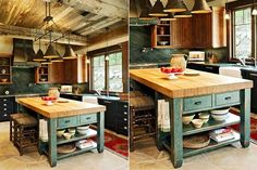 Opciones para una isla en la cocina Antigua de madera, con espacios de guardado a la vista y cajones. Foto: Jdsdenver.com