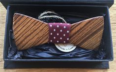 Wooden Bow Tie Zebra wood