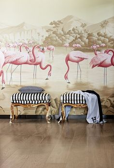'Flamingos' design in Flamingo design colours on Sepia scenic paper. Interior design by Baptiste Bohu
