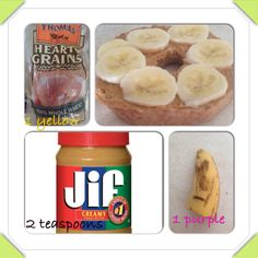 21 day fix breakfast: 1/2 bagel, 1/2 banana, 2 teaspoons peanut butter. (1 yellow, 1 purple, 2 teaspoons) #21dayfix #beachbody #neverhungry