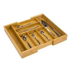 Add our Expandable Bamboo Cutlery Tray to your kitchen drawers for a beautiful way to store your flatware and utensils.  Adjustable sides make it easy to expand the organizer to fit most kitchen drawers.