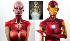 Body painter spends 15 hours transforming into comic book characters