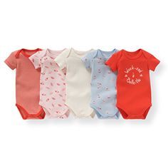 R Edition Baby Girls Pack Of 5 Organic Cotton Bodysuits, Birth - 3 Years - http://bigboutique.tk/product/r-edition-baby-girls-pack-of-5-organic-cotton-bodysuits-birth-3-years/