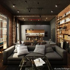 Urban Industrial Decor Tips From The Pros Have you been thinking about making changes to your home? Are you looking at hiring an interior designer to help you? Loft Interior Design, Loft Design, House Design, Loft Interiors, Urban Loft, Industrial House, Interior Design Living Room, Architecture, Decoration