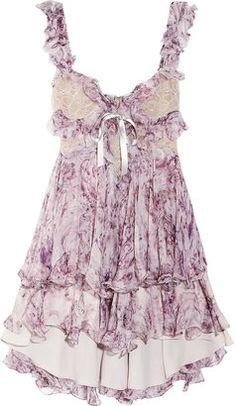 ShopStyle: Alexander McQueen Ruffled printed silk-chiffon mini dress- freaking love