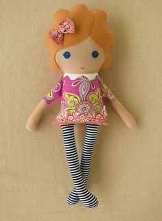 Fabric Doll Rag Doll Girl in Swirled PinkViolet por rovingovine, $35.00