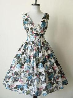 50s Vtg Style Poplin Flower Pinup Swing Dress Small