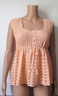 Crocheted Top Light Peach Cotton  Womens  by Renaixcrochet on Etsy, $65.00