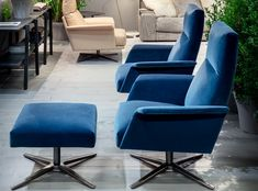 The lounge armchair, with its pouf, completes the Nilson collection. Despite its reduced dimension, offers a high level of comfort thanks to the tilting as well as swiveling base with automatic return. Covers are completely removable. High Level, Cologne, Armchair, Lounge, Velvet, Base, Furniture, Collection, Home Decor