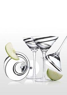 ideeli   luigi bormioli sale - Set of 4 Black Swirl Martini Glasses