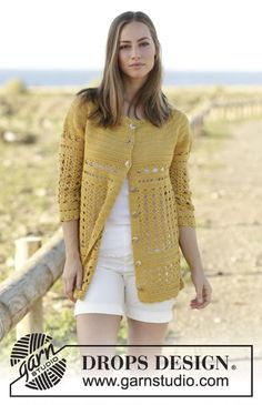 Sahara Cardigan worked top down with circular yoke and lace pattern by DROPS Design Free Crochet Pattern