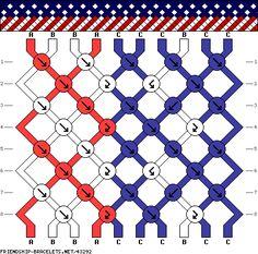 10 strings, 8 rows, 3 colors, american flag bracelet