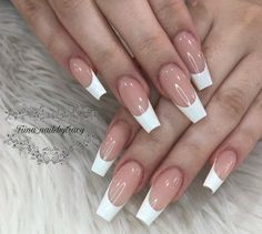 French Tip Acrylic Nails, Square Acrylic Nails, Best Acrylic Nails, Long French Tip Nails, Stylish Nails, Trendy Nails, Cute Acrylic Nail Designs, French Nail Designs, Basic Nails