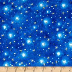 Holy Gathering Metallic North Star Blender Blue from @fabricdotcom  Designed by Liz Goodrick-Dillon for Quilting Treasures, this cotton print fabric is perfect for quilting, apparel and home decor accents. Colors include blue and white with gold metallic stars.