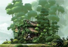Kung Fu Panda 2 - Po's House Overgrown Concept Artwork Kung Fu Panda 2 - DreamWorks Animation Fine Art - LE - Watercolor Paper