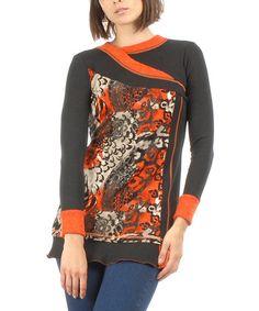 This Black & Orange Animal Print Patchwork Tunic is perfect! #zulilyfinds