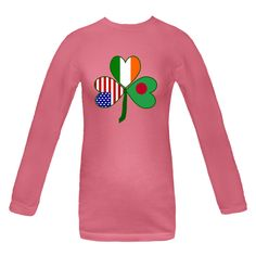 Design is special for those with #Bangladeshi, Irish and USA cultural and ancestral heritages. Image features a green #shamrock with heart shaped flags of Bangladesh, Ireland and the United States for leaves. $24.99 http://ink.flagnation.com from your @Auntie Shoe