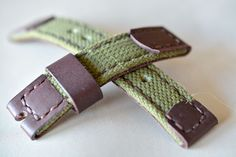 Leather with fabric watch strap handmade 20mm